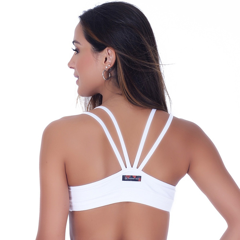 Top Summer Soul Strappy Fitness Branco