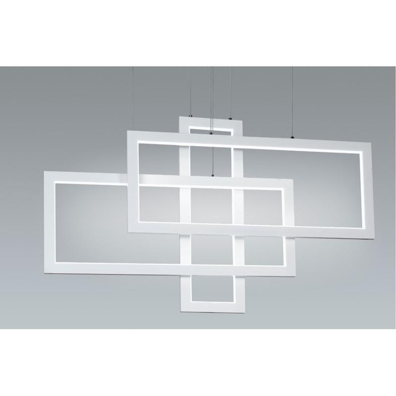 Lampara Colgante Rectangle Led 91w Deco Moderno Premium Gmg