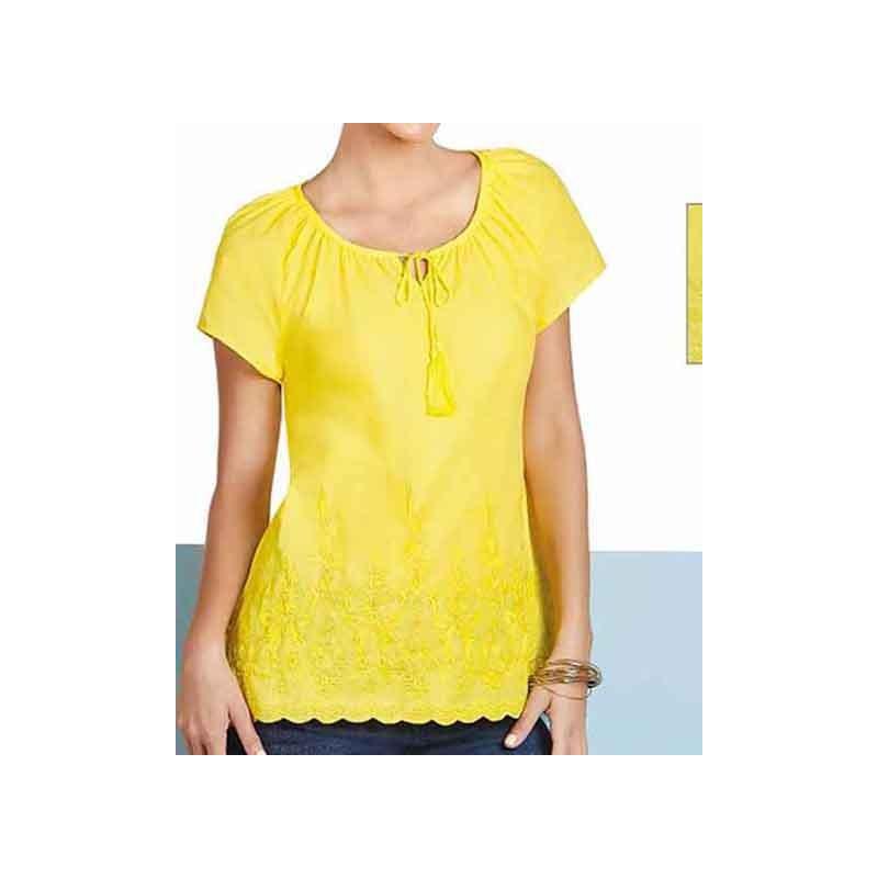 Blusa amarilla cuello redondo manga corta 015145