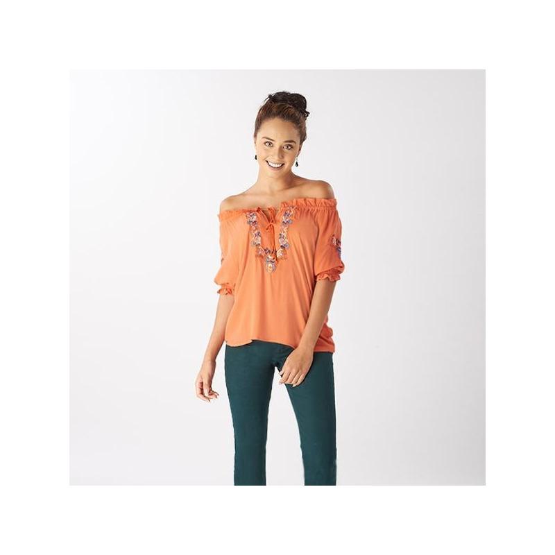 Blusa naranja bordada manga corta 019098