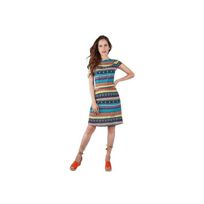 Vestido multicolor estampado manga corta  015149