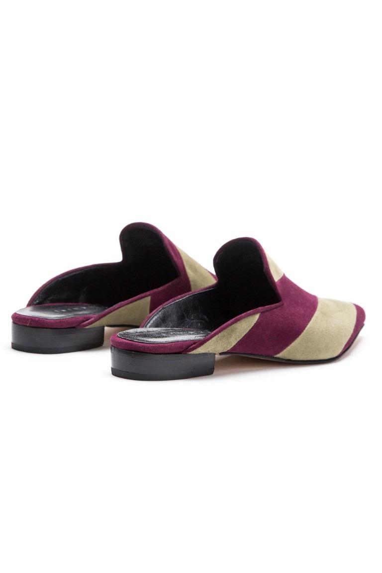 Slippers Sasha borravino y verde/ SALE 20% OFF