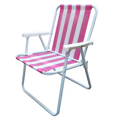 Reposera alta silla playa plegable esmaltada rosa y blanco - Silla alta plegable ...