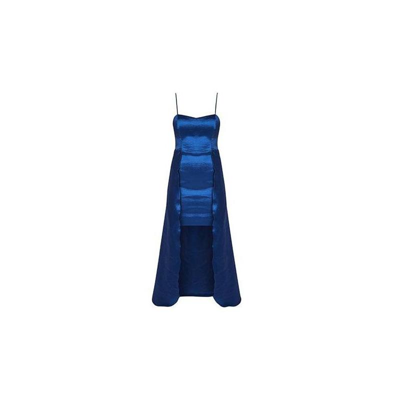 Vestido largo azul con tirantes 013116