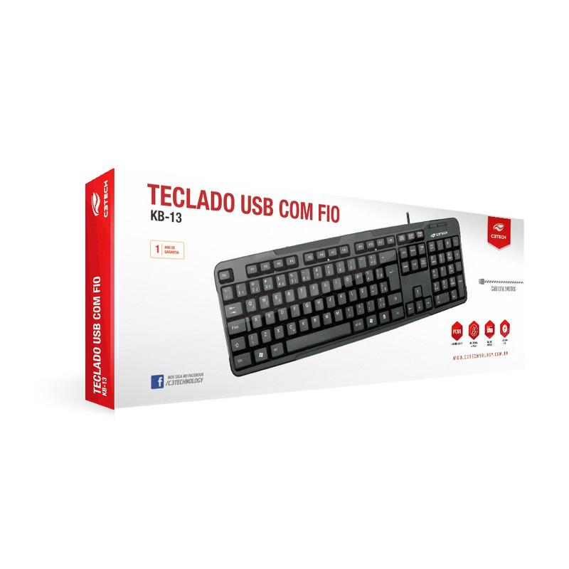 TECLADO PADRÃO USB C3TECH KB-13BK PRETO