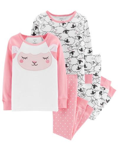 Carters Set 4 Piezas Conjunto Pijama Osito Oveja Nenas Pack