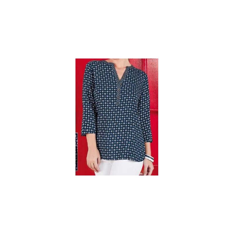 Blusa marino estampada manga corta 015497