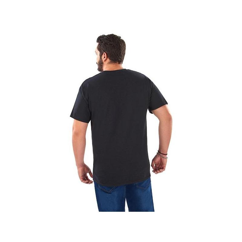 Camisa negra estampada manga corta 014631P