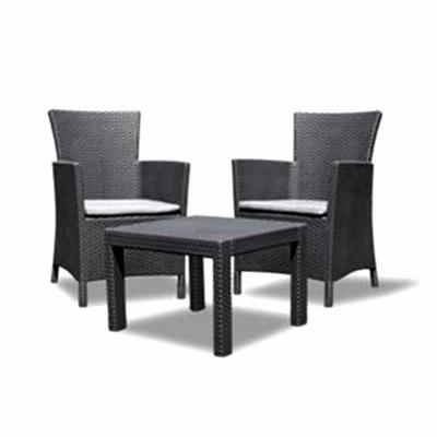 Juego dos sillones una mesa rat n negro balc n jardin for Sillones de balcon