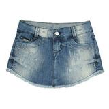 Short Saia Jeans c/ Bordado Crawling