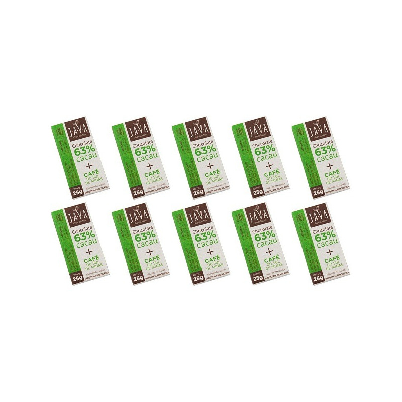 Chocolate 63% Cacau com Cafe Torrado de Minas Cx.10x25g Java