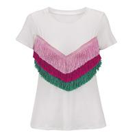 Blusa Blanca Con Barbas Multicolor 019469