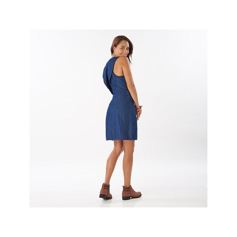 Vestido corto mezclilla con olanes 014446