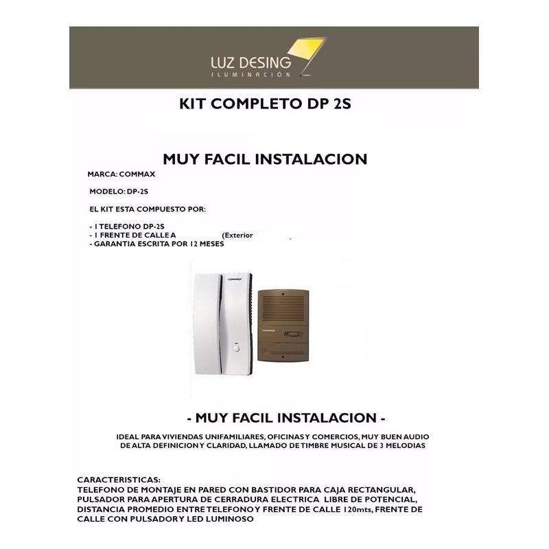 Kit Portero Electrico Commax Dp 2s 2hp 2k Frente Embutir