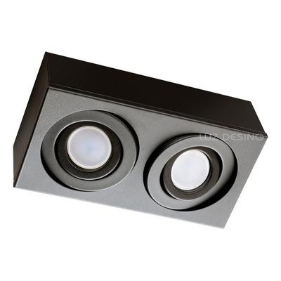 Plafon 2 Luces Cardanico Negro Apto Led Gu10 Dicro Gam 2914