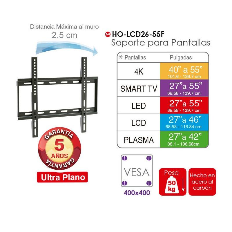 """Soporte fijo para pantallas de 26-55"""", capacidad de carga de 50 kgs"""