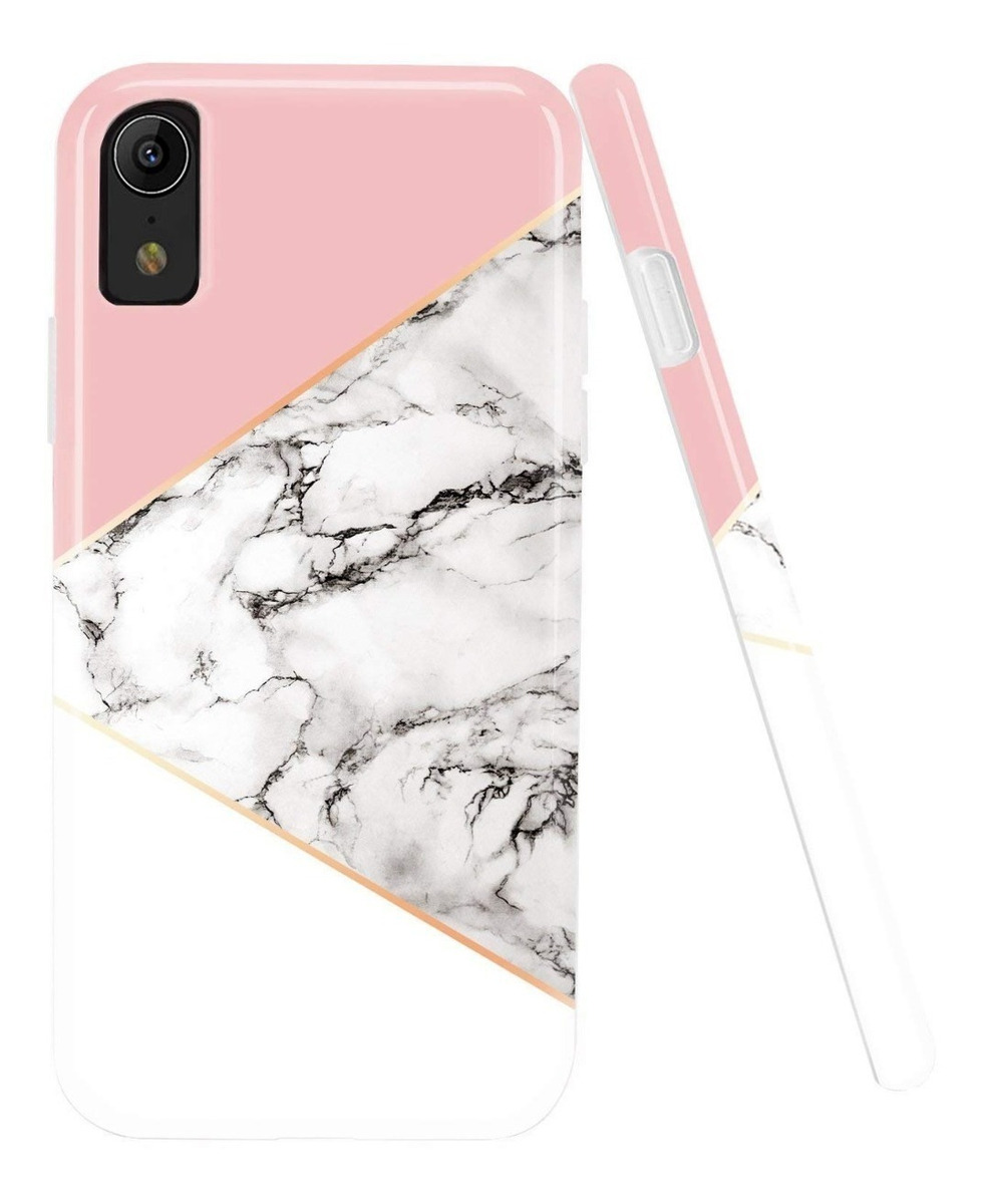 FUNDA MARMOL BLANCO CON ROSA IPHONE XR