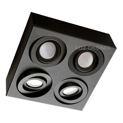 Plafon 4 Luces Cardanico Negro Apto Led Gu10 Dicro Gam 2929