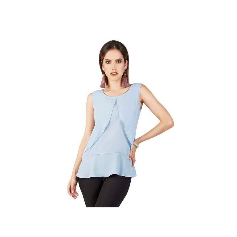 Blusa azul sin manga 015603