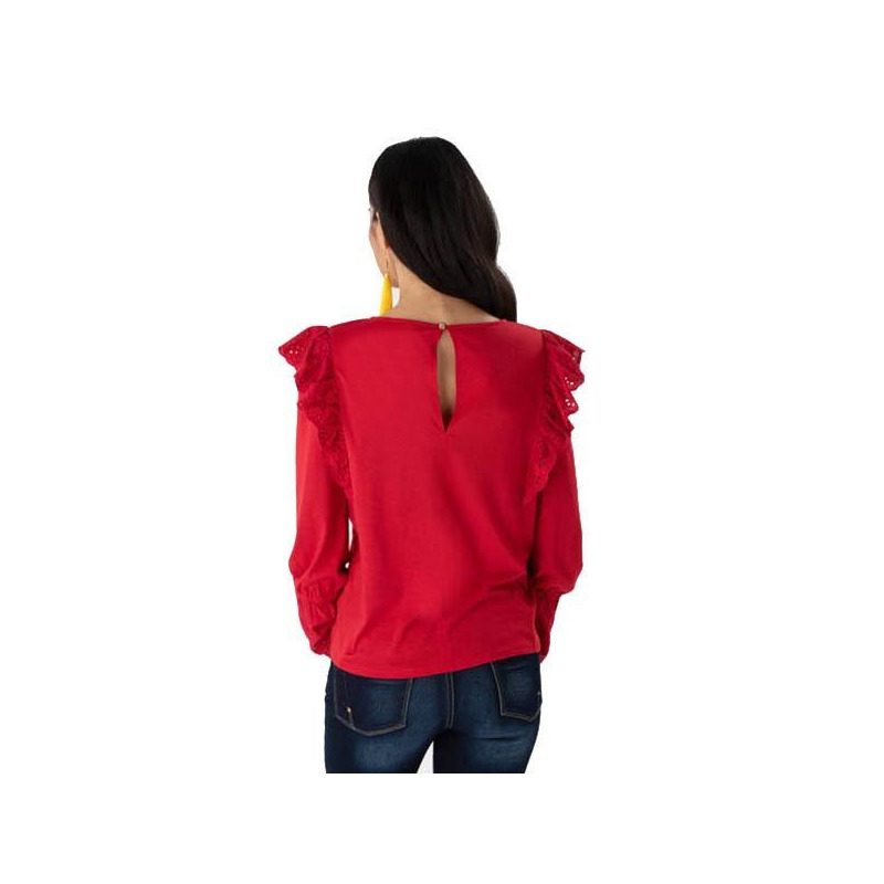 Blusa roja olanes manga larga 019226