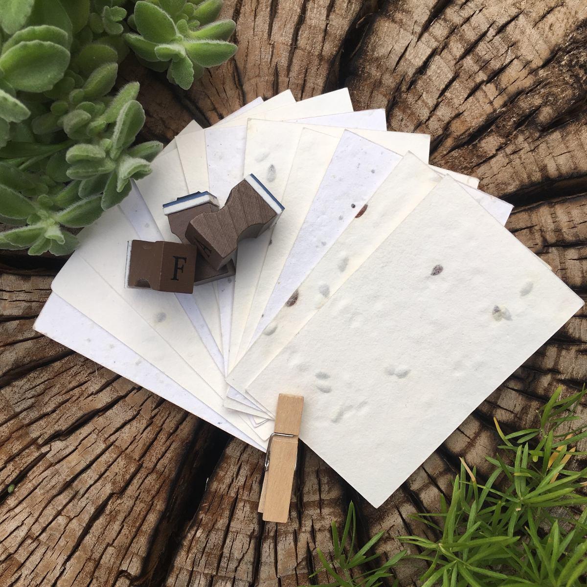 500 Tarjetas 8x5 cm (Corte Recto) - papel plantable con s...