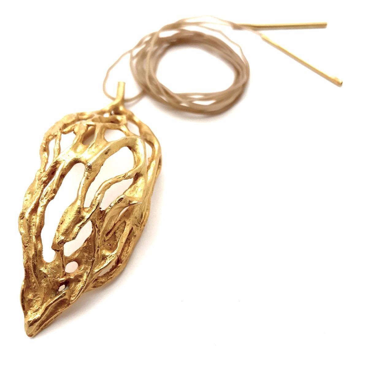 Algas Collar Dije c/ cordon - Baño de Oro