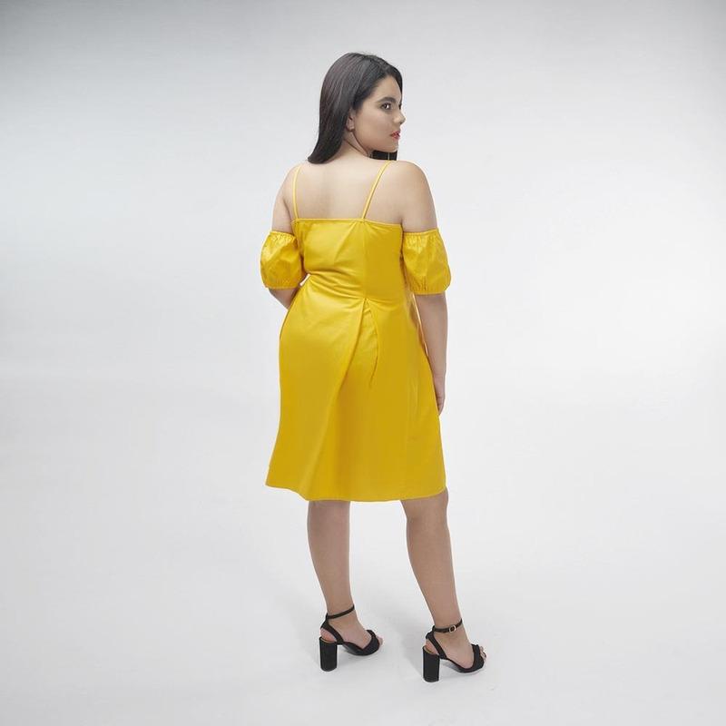 Vestido Amarillo Con Botones 017081
