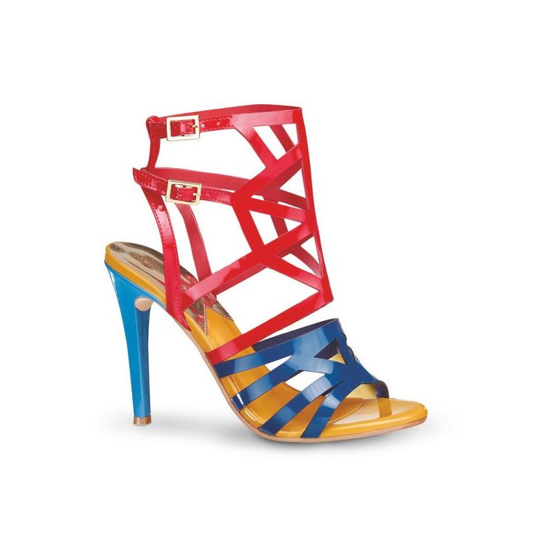 Sandalia tacón rojo con azul 009955