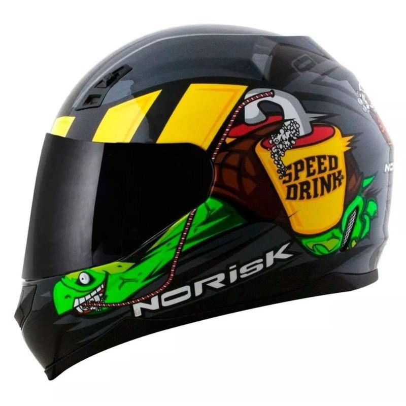 Capacete Norisk FF391 Speed Drink Cinza Com Viseira Fumê