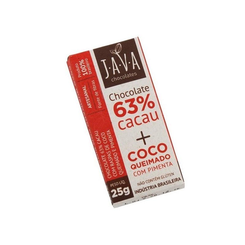 Chocolate 63% Cacau com Coco Queimado e Pimenta - 25g - Java
