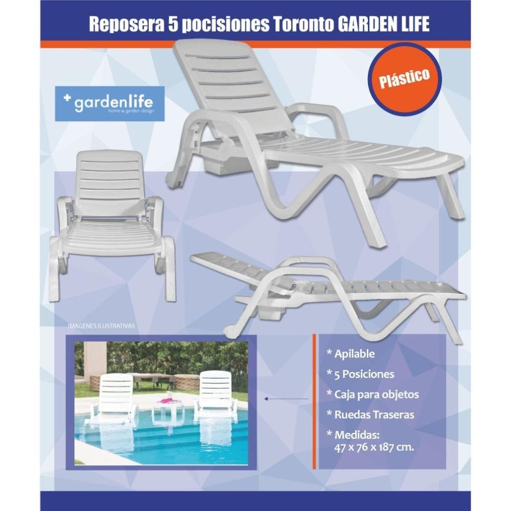Reposera Garden Life Toronto Blanca 5 Posiciones Ruedas