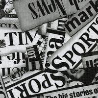 Tecido corino jornal preto e branco - Larg. 1,40 m