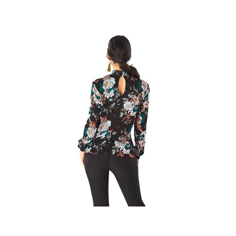 Blusa negra estampada manga larga 019096