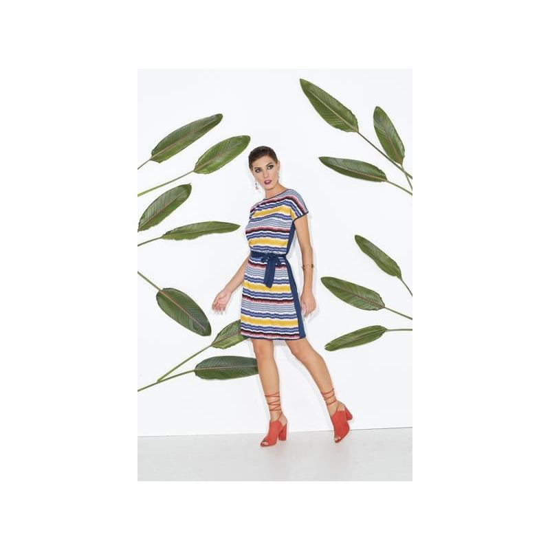 Vestido corto líneas multicolor  012600