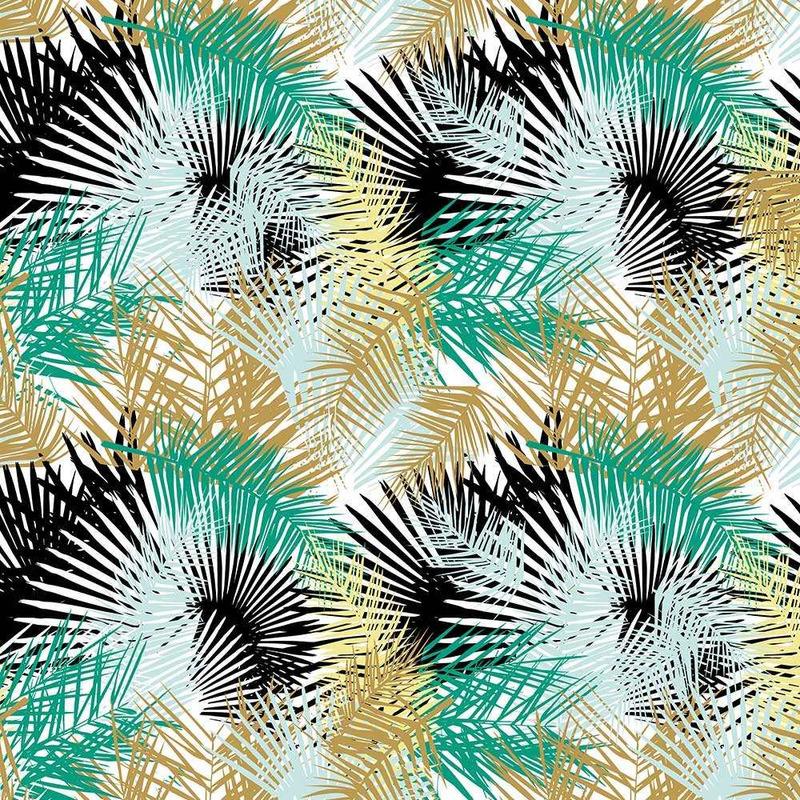Tecido impermeável Acqua Soleil folhagem palm verde turquesa