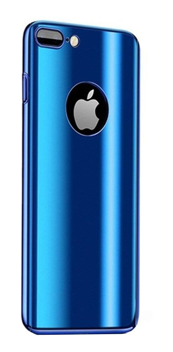 FUNDA 360 IPHONE 7 PLUS AZUL METALIZADA GENERICA