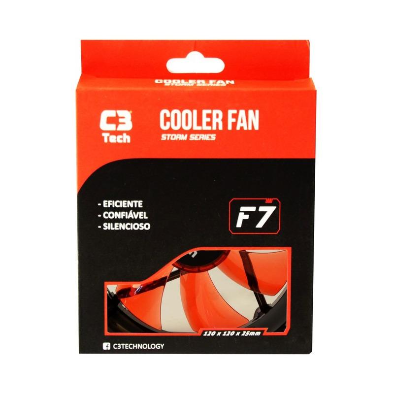 COOLER FAN 12CM LED C3TECH STORM F7-L100RD VERMELHO