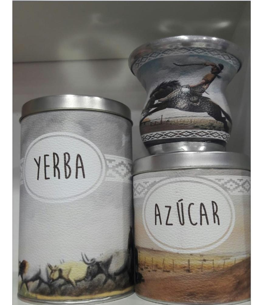 Set Matero X3 Mate Vidrio Yerbera Y Azucarera Argentina