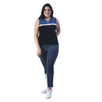 Blusa Negra Con Azul 019317