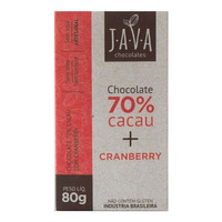 Chocolate 70% Cacau Organico com Cranberry - 80g - Java