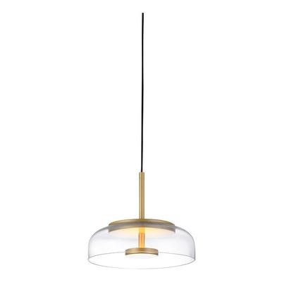 Lampara Colgante Plaka Vidrio Led 7w Dorado Deco Moderno Lk