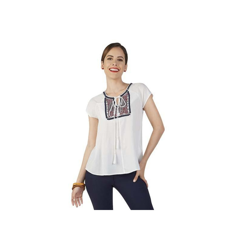 Blusa blanca estampada manga corta 015144