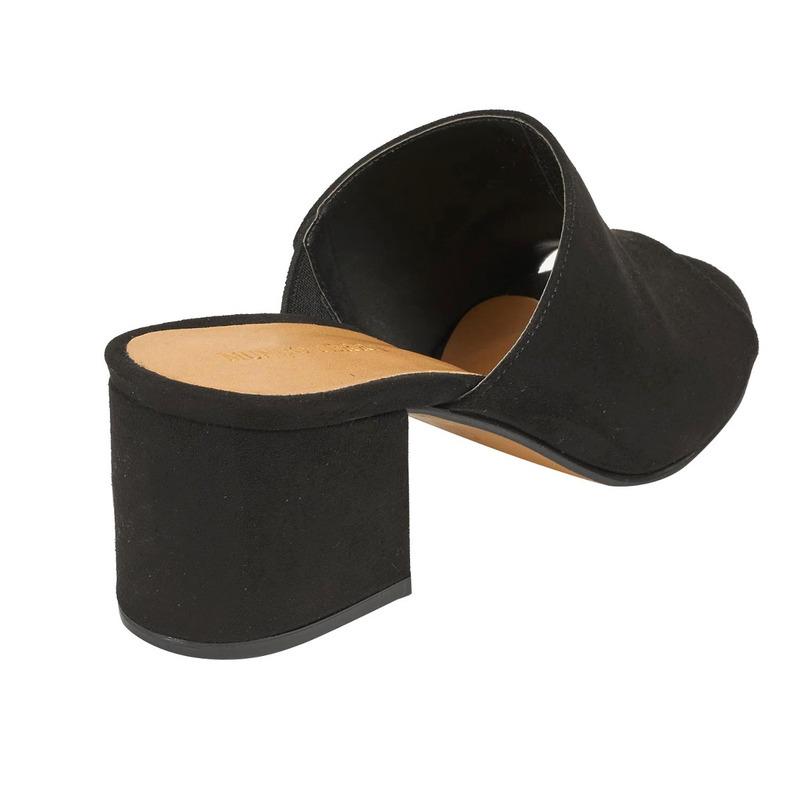 Sandalia tacón negra gamuza  016500