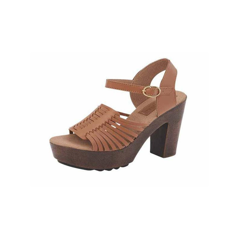 Sandalia tacón miel pulseras cruzadas 016284