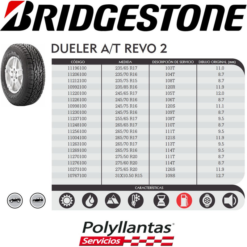 265-75 R16 114T Dueler At Revo 2  Bridgestone DESCONTINUADA
