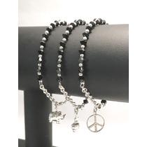8a6a05582550 Comprar Pulsera De Plata 925- Cristales Swarovski Negros Y Dije 20cm