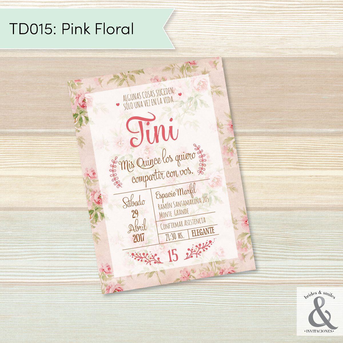 Invitación Digital Td015 Pink Floral Brides Amp Smiles