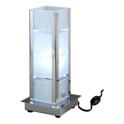 Lampara Velador De Mesa Vidrio Borde Cromo Apto Led V9000