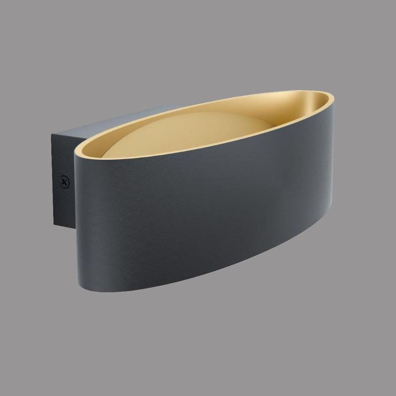 Aplique Pared Maccacari Led Negro-oro Aluminio Moderno Eglo
