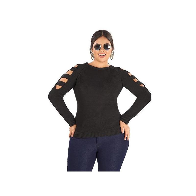 Blusa negra aberturas manga larga 014306P